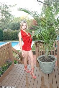 Teen Kasia in a Red Dress
