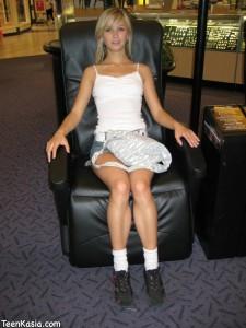 Teen Kasia in Denim Skirt in Public